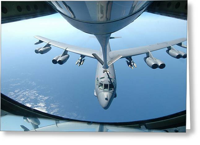 A Kc-135 Stratotanker Refuels A B-52 Greeting Card by Celestial Images