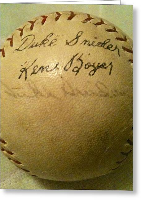 A Ken Boyer And Duke Snider Autograph Baseball Greeting Card