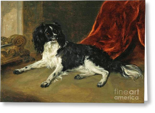 A King Charles Spaniel By A Fireplace Greeting Card by Richard Ramsay Reinagle