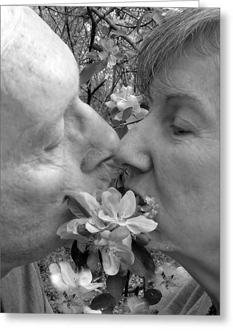 A Kiss Behind The Flowers Greeting Card