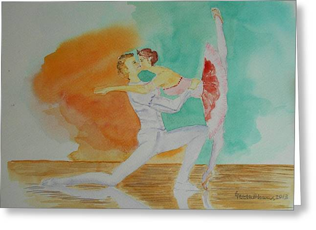 A Kiss In Ballet  Greeting Card by Geeta Biswas