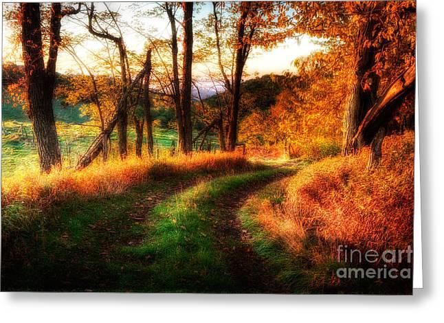 A Kiss Of Fall Colors II - Blue Ridge Parkway Greeting Card