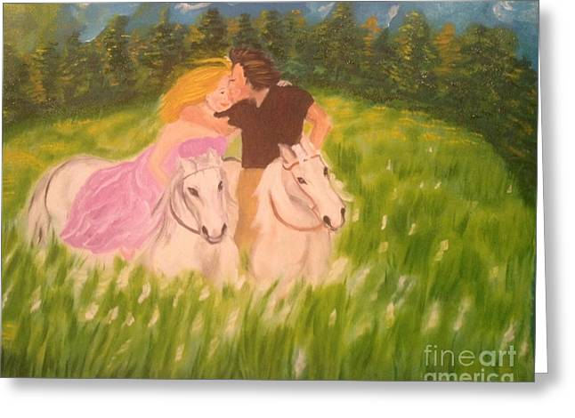 Greeting Card featuring the painting A Kiss - On Horseback by Brindha Naveen