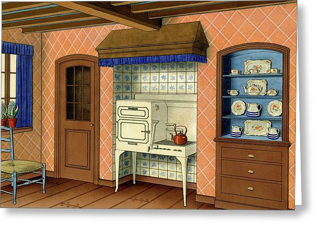 A Kitchen With An Old Fashioned Oven And Stovetop Greeting Card
