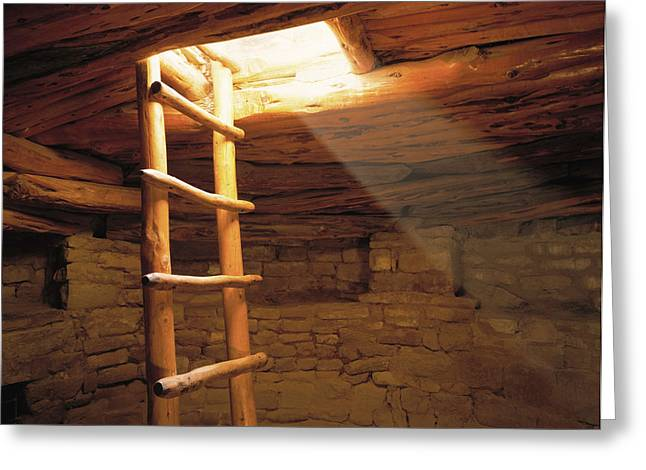 A Kiva Ladder And Sun Rays In A Kiva Greeting Card