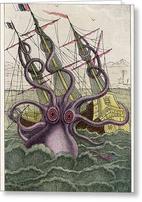 A Kraken Attacks A  Sailing Vessel Greeting Card