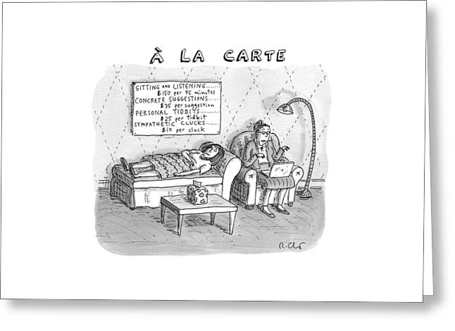 A La Carte -- Therapy Where A Placard Lists Greeting Card by Roz Chast