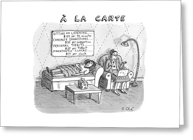 A La Carte -- Therapy Where A Placard Lists Greeting Card