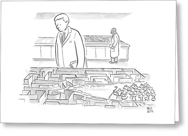 A Laboratory Scientist Looks On As The Walls Greeting Card