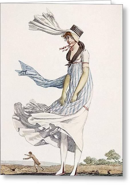 A Ladies Summer Promenade Dress, 1800 Greeting Card