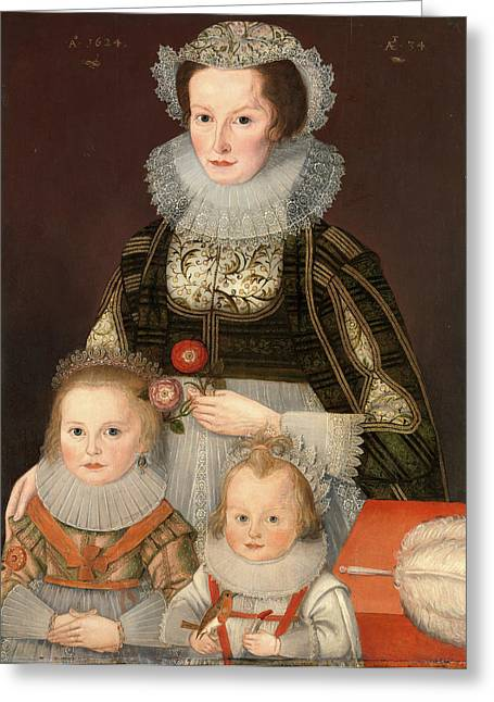 A Lady And Her Two Children Dated In Gold Paint Greeting Card by Litz Collection