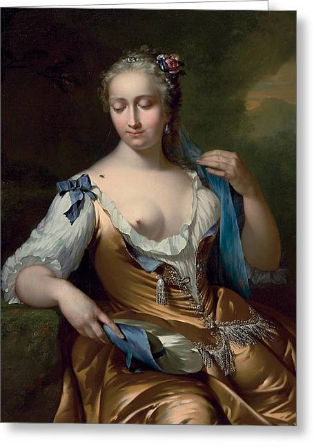 A Lady In A Landscape With A Fly On Her Shoulder Greeting Card by Frans van der Mijn
