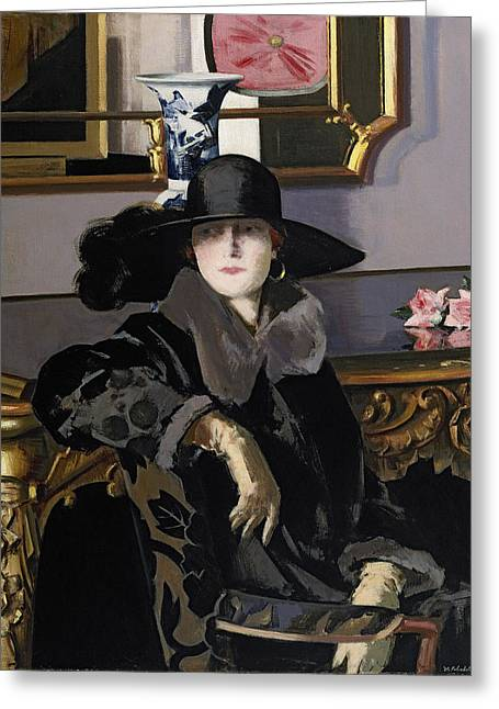 A Lady In Black Greeting Card by Francis Campbell Boileau Cadell