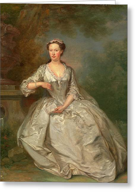 A Lady With A Book Portrait Of A Lady Signed Greeting Card by Litz Collection