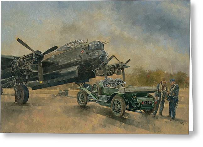 A Lancaster And A Bentley, 2000 Oil On Canvas Greeting Card by Peter Miller