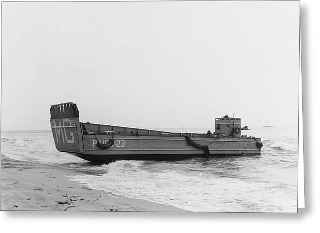 A Landing Craft Beaches To Unload Greeting Card by Stocktrek Images