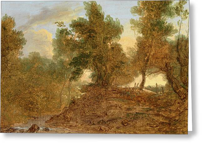 A Landscape At Wick, Gloucestershire, Below The Rocks Greeting Card by Litz Collection