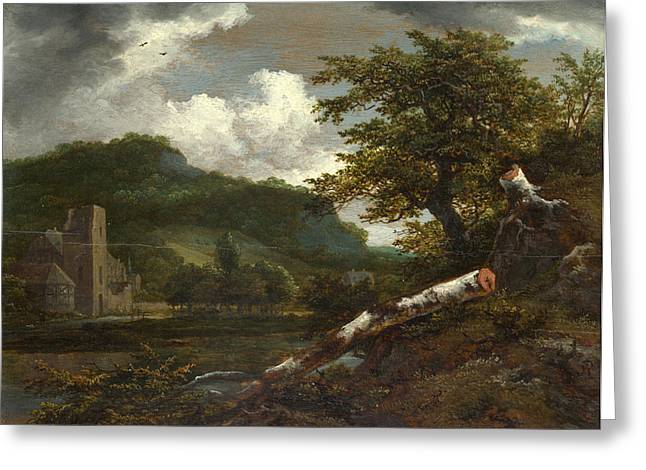 A Landscape With A Ruined Building Greeting Card by Jacob Isaacksz van Ruisdael