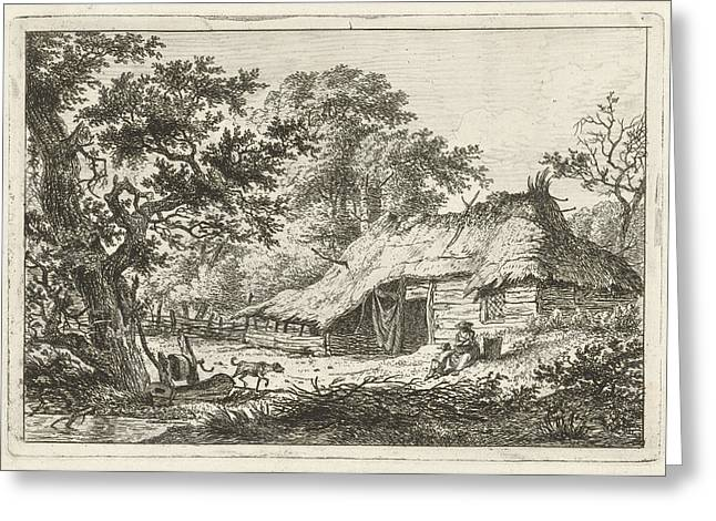 A Landscape With A Wooden Thatched Farmhouse Greeting Card by Artokoloro