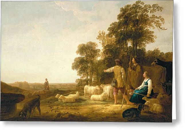 A Landscape With Shepherds And Shepherdesses Greeting Card