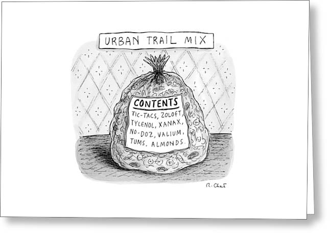 A Large Bag Is Centered In This Picture Greeting Card by Roz Chast