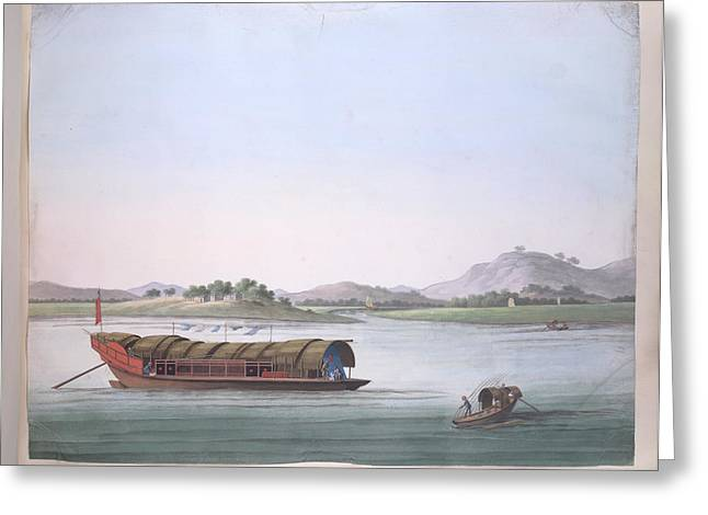 A Large Boat And A Fishing Boat Greeting Card by British Library