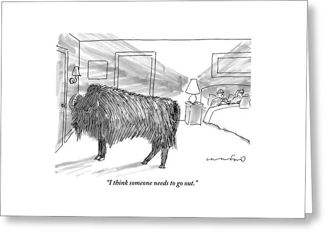 A Large Buffalo Stands Near The Door Greeting Card by Michael Crawford