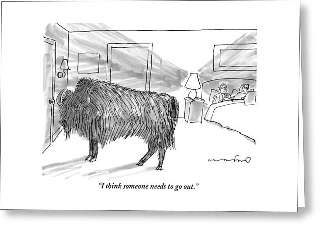 A Large Buffalo Stands Near The Door Greeting Card