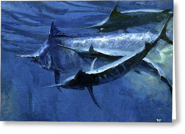 A Large Female Black Marlin Is Courted Greeting Card