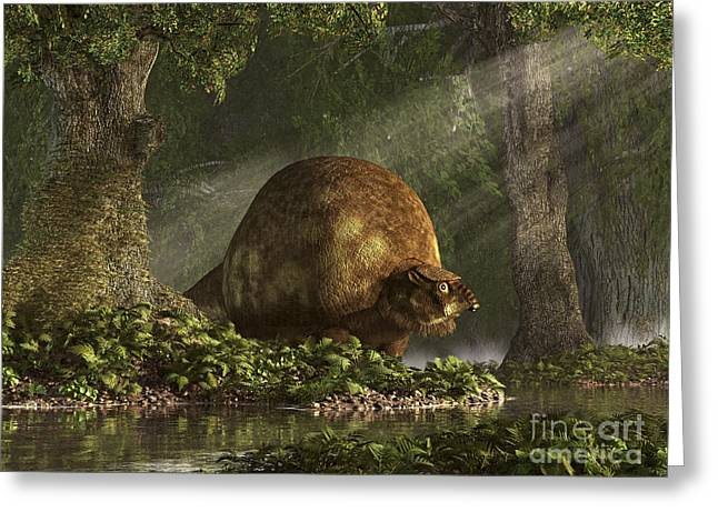 A Large Glyptodon Stands Near The Edge Greeting Card by Daniel Eskridge