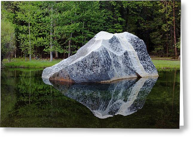 A Large Granite Boulder In Tenaya Greeting Card