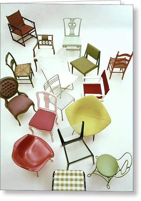 A Large Group Of Chairs Greeting Card