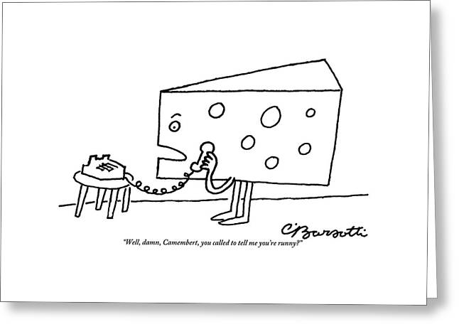A Large Piece Of Swiss Cheese Talks Greeting Card by Charles Barsotti