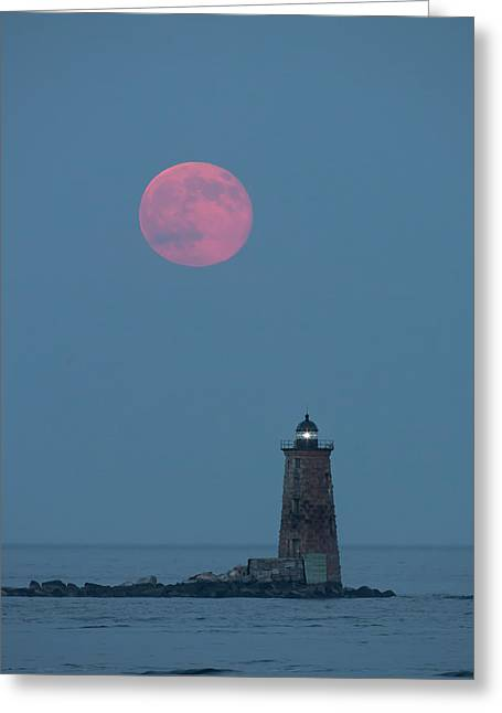 A Large Red Moon Over Whaleback Greeting Card by Robbie George