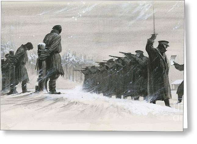 A Last Minute Reprieve Saved Fyodor Dostoievski From The Firing Squad Greeting Card by  Ralph Bruce