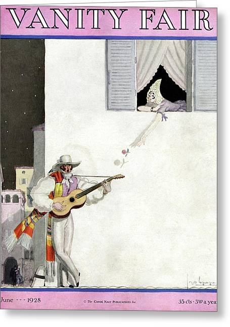 A Latin Man Serenading A Woman Greeting Card by Georges Lepape
