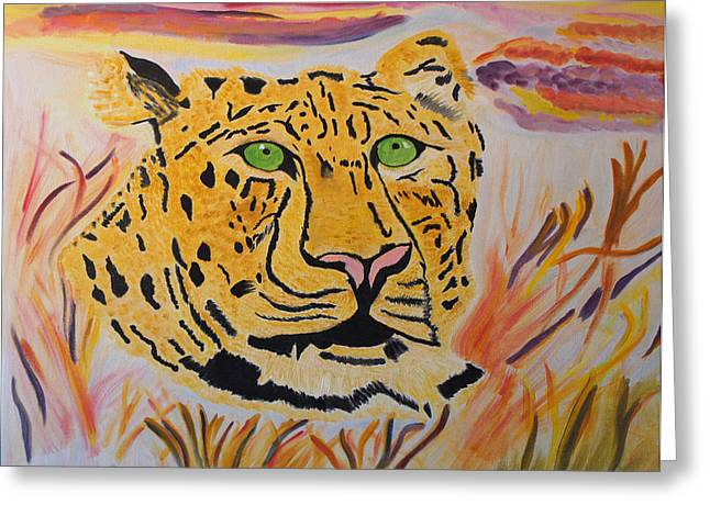 Greeting Card featuring the painting A Leopard's Gaze by Meryl Goudey