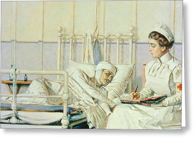 A Letter To Mother Greeting Card by Piotr Petrovitch Weretshchagin