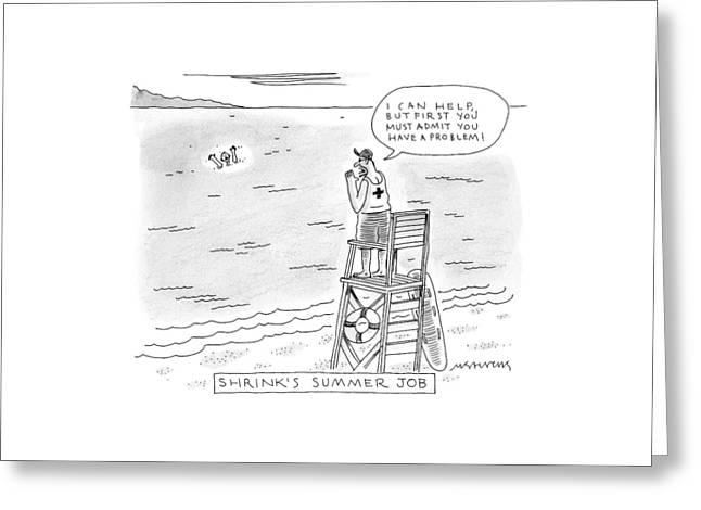 A Lifeguard Shouts At A Drowning Man Greeting Card by Mick Stevens