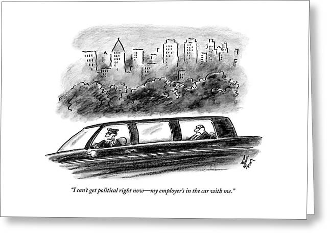A Limo Driver Talks On His Cell Phone Greeting Card