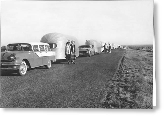 A Line Of Airstream Trailers Greeting Card by Underwood Archives