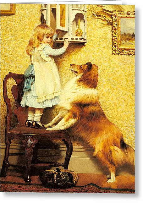 A Little Girl And Her Sheltie Greeting Card by Charles Burton Barber