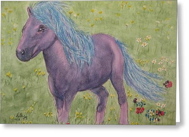 Greeting Card featuring the painting A Little Girls Imagination Pony by Kelly Mills