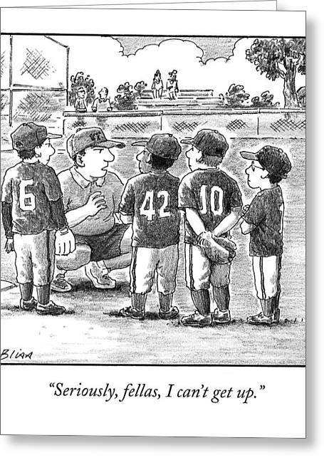 A Little-league Baseball Coach Crouches To Talk Greeting Card by Harry Bliss