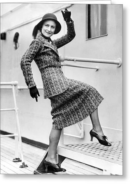 A Lively Woman Boards A Ship Greeting Card by Underwood Archives