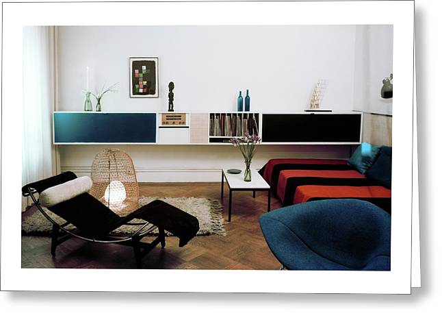 A Living Room With A Le Corbusier Chair Greeting Card