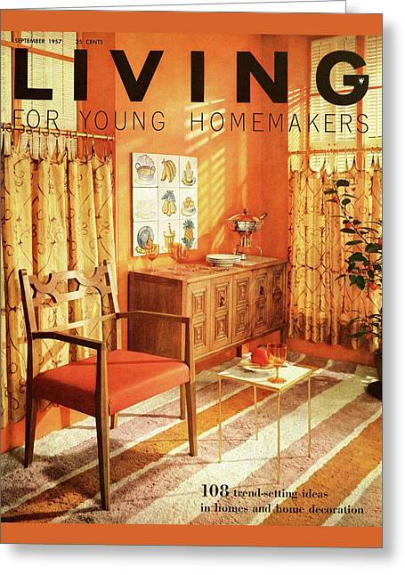 A Living Room With Furniture By Mt Airy Chair Greeting Card by F. M. Demarest