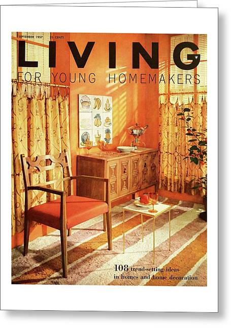 A Living Room With Furniture By Mt Airy Chair Greeting Card
