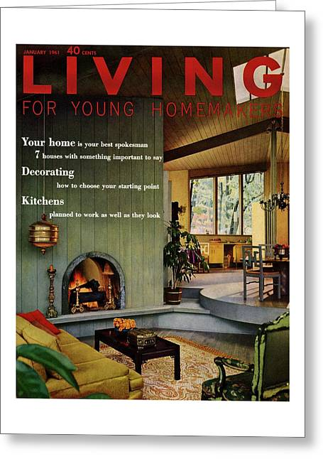 A Living Room With Sherwin-williams Wood-paneling Greeting Card