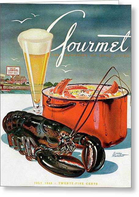 A Lobster And A Lobster Pot With Beer Greeting Card